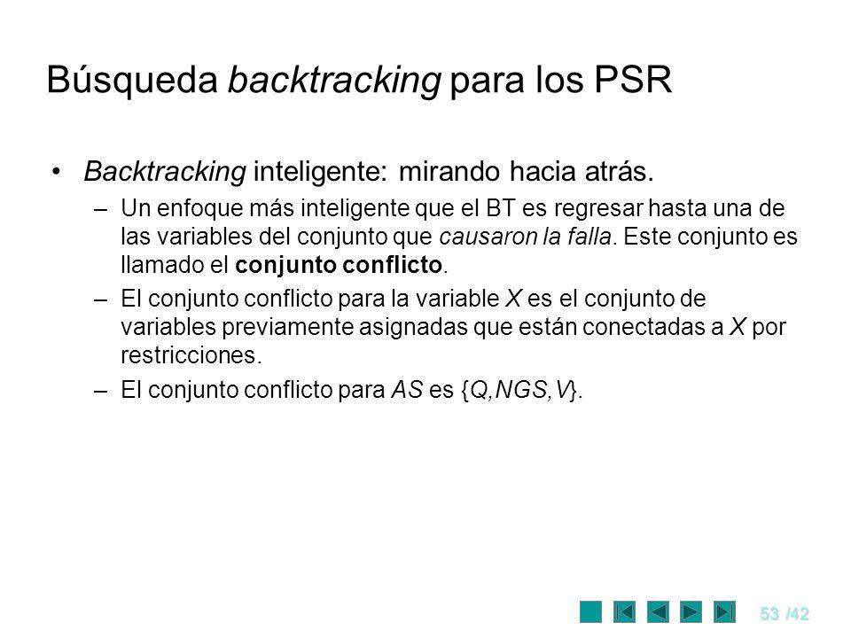 53/42 Búsqueda backtracking para los PSR Backtracking inteligente: mirando hacia atrás. –Un enfoque más inteligente que el BT es regresar hasta una de