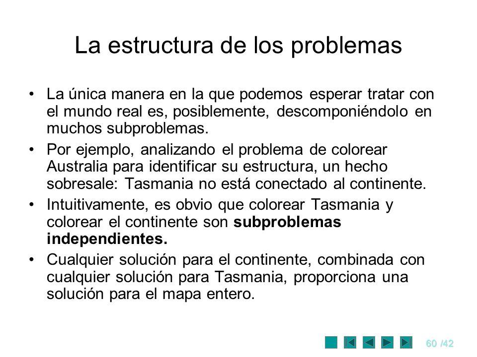 60/42 La estructura de los problemas La única manera en la que podemos esperar tratar con el mundo real es, posiblemente, descomponiéndolo en muchos s
