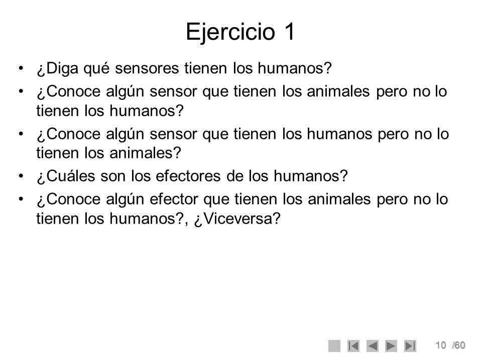 10/60 Ejercicio 1 ¿Diga qué sensores tienen los humanos? ¿Conoce algún sensor que tienen los animales pero no lo tienen los humanos? ¿Conoce algún sen