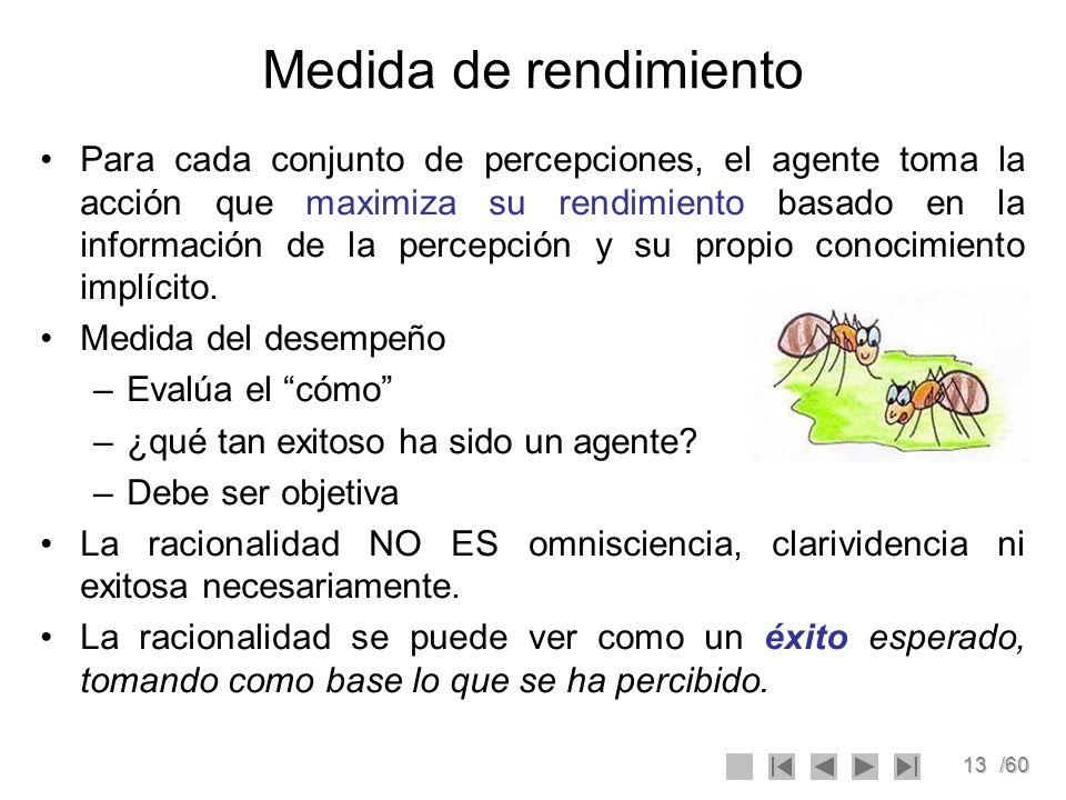 13/60 Medida de rendimiento Para cada conjunto de percepciones, el agente toma la acción que maximiza su rendimiento basado en la información de la pe