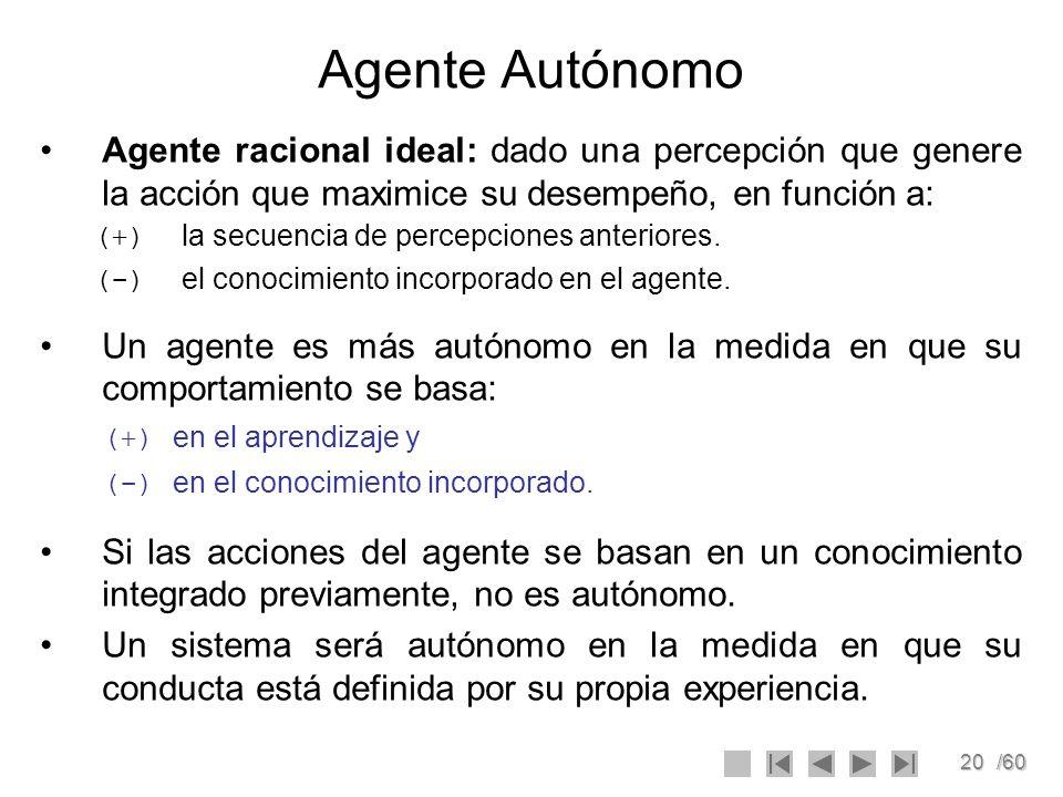 20/60 Agente Autónomo Agente racional ideal: dado una percepción que genere la acción que maximice su desempeño, en función a: (+) la secuencia de per