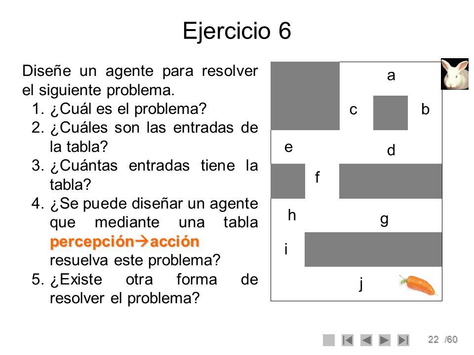 22/60 Ejercicio 6 a bc d e f g h i j Diseñe un agente para resolver el siguiente problema. 1.¿Cuál es el problema? 2.¿Cuáles son las entradas de la ta