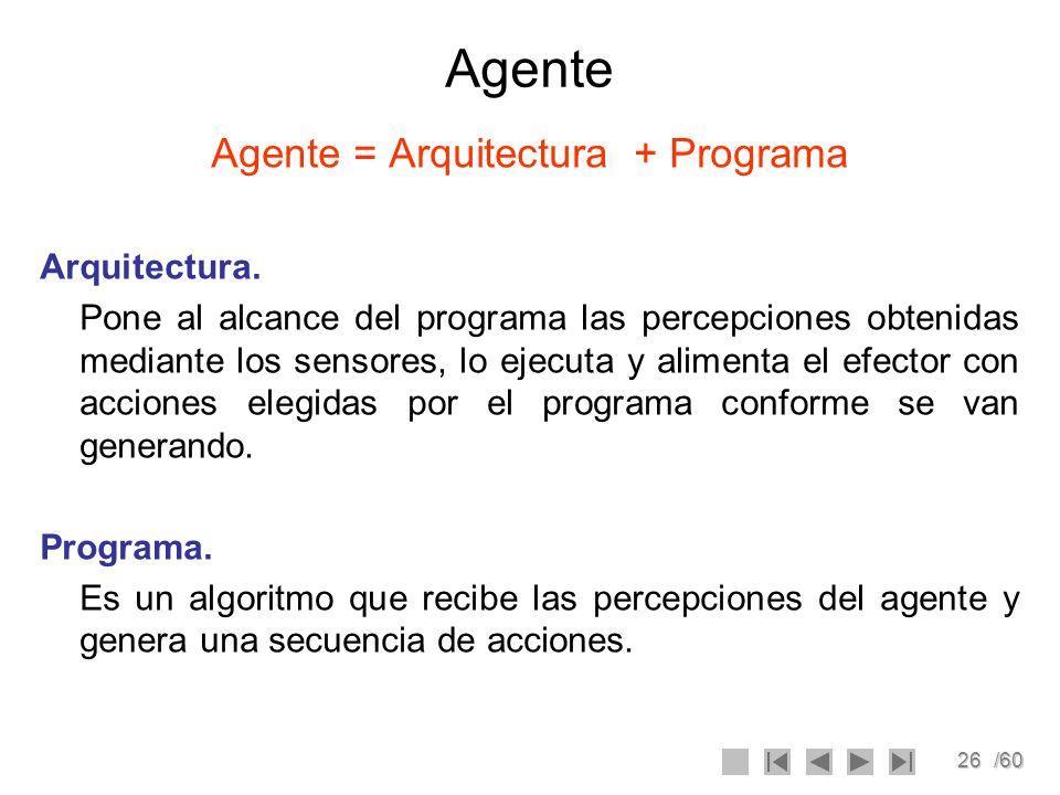 26/60 Agente Agente = Arquitectura + Programa Arquitectura. Pone al alcance del programa las percepciones obtenidas mediante los sensores, lo ejecuta