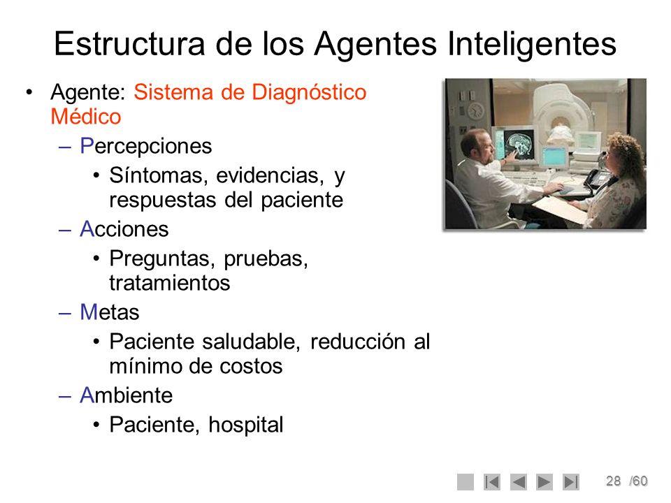 28/60 Estructura de los Agentes Inteligentes Agente: Sistema de Diagnóstico Médico –Percepciones Síntomas, evidencias, y respuestas del paciente –Acci