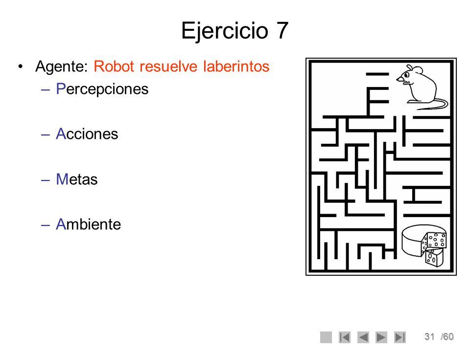 31/60 Ejercicio 7 Agente: Robot resuelve laberintos –Percepciones –Acciones –Metas –Ambiente