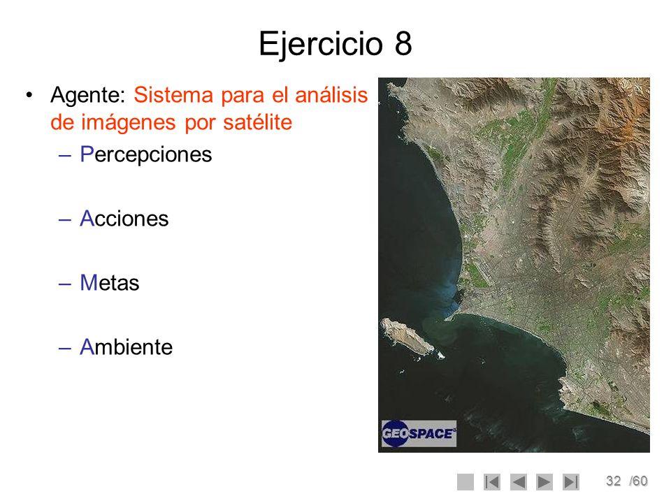 32/60 Ejercicio 8 Agente: Sistema para el análisis de imágenes por satélite –Percepciones –Acciones –Metas –Ambiente