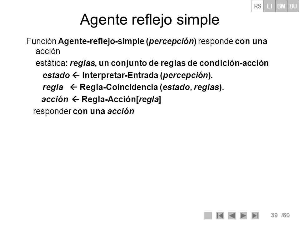 39/60 Agente reflejo simple Función Agente-reflejo-simple (percepción) responde con una acción estática: reglas, un conjunto de reglas de condición-ac