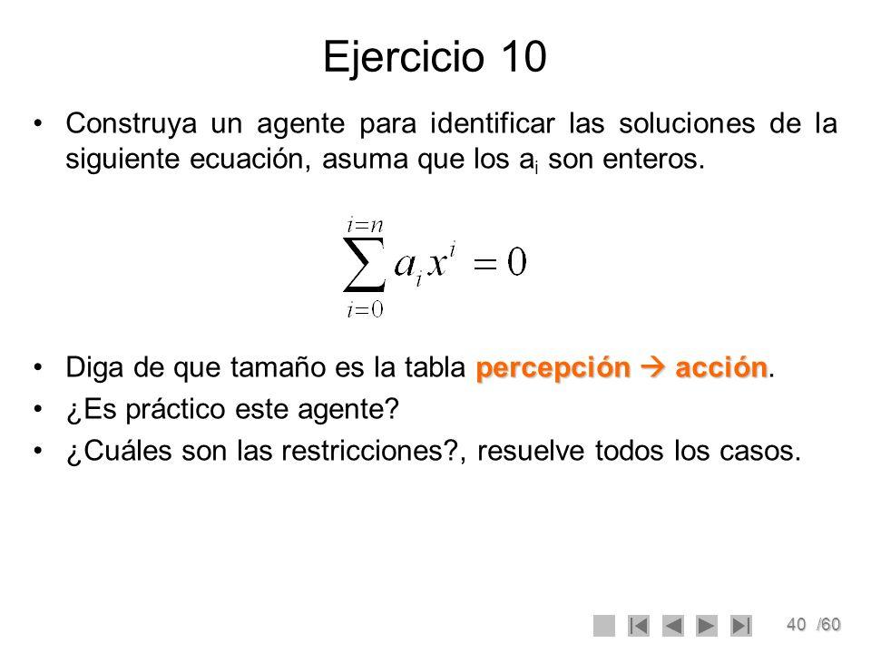 40/60 Ejercicio 10 Construya un agente para identificar las soluciones de la siguiente ecuación, asuma que los a i son enteros. percepción acciónDiga