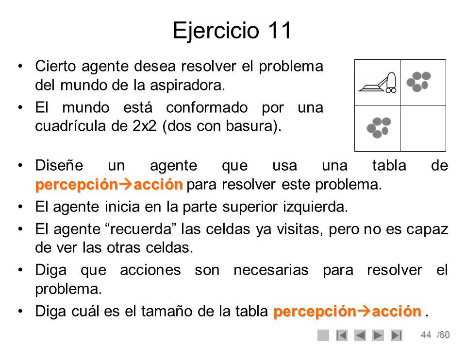 44/60 Ejercicio 11 Cierto agente desea resolver el problema del mundo de la aspiradora. El mundo está conformado por una cuadrícula de 2x2 (dos con ba