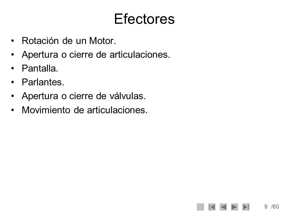 9/60 Efectores Rotación de un Motor. Apertura o cierre de articulaciones. Pantalla. Parlantes. Apertura o cierre de válvulas. Movimiento de articulaci