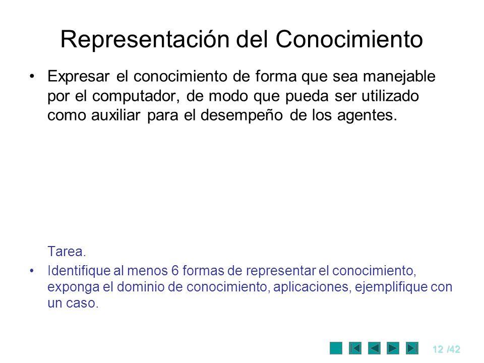 12/42 Representación del Conocimiento Expresar el conocimiento de forma que sea manejable por el computador, de modo que pueda ser utilizado como auxi