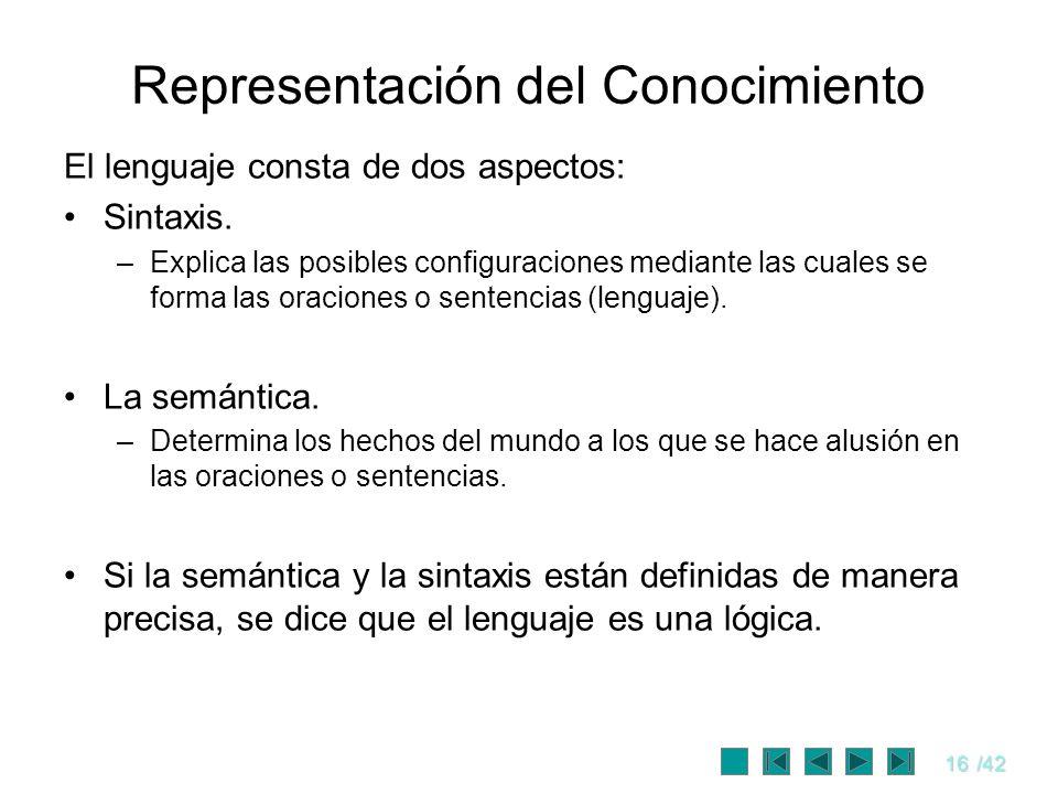 16/42 Representación del Conocimiento El lenguaje consta de dos aspectos: Sintaxis. –Explica las posibles configuraciones mediante las cuales se forma