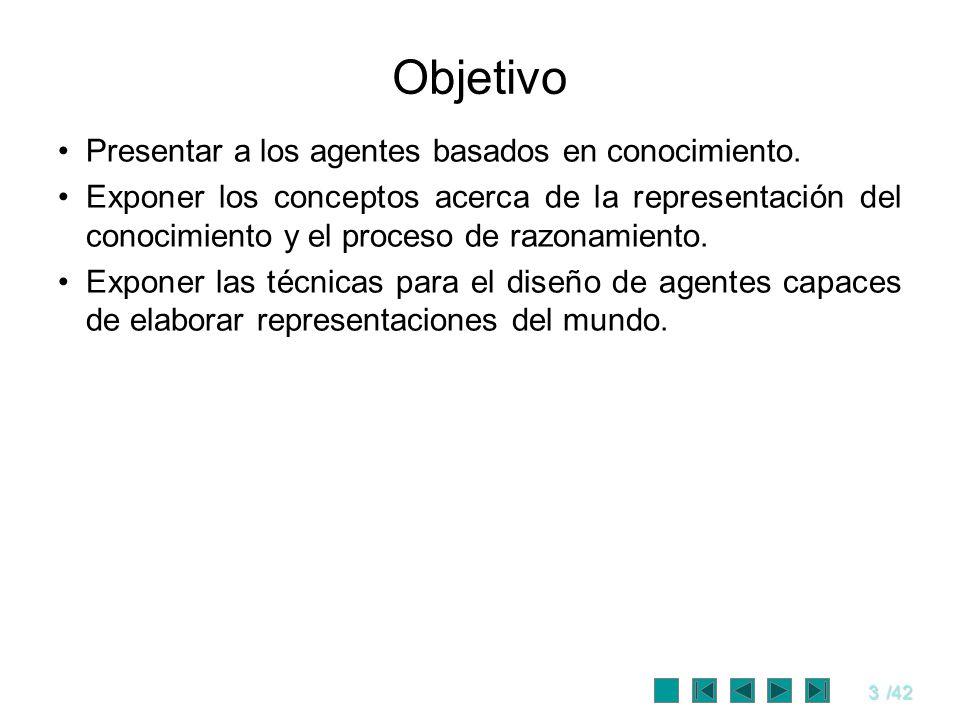 3/42 Objetivo Presentar a los agentes basados en conocimiento. Exponer los conceptos acerca de la representación del conocimiento y el proceso de razo