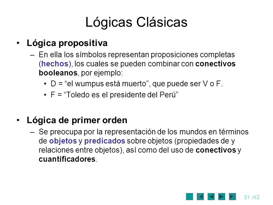 31/42 Lógicas Clásicas Lógica propositiva –En ella los símbolos representan proposiciones completas (hechos), los cuales se pueden combinar con conect