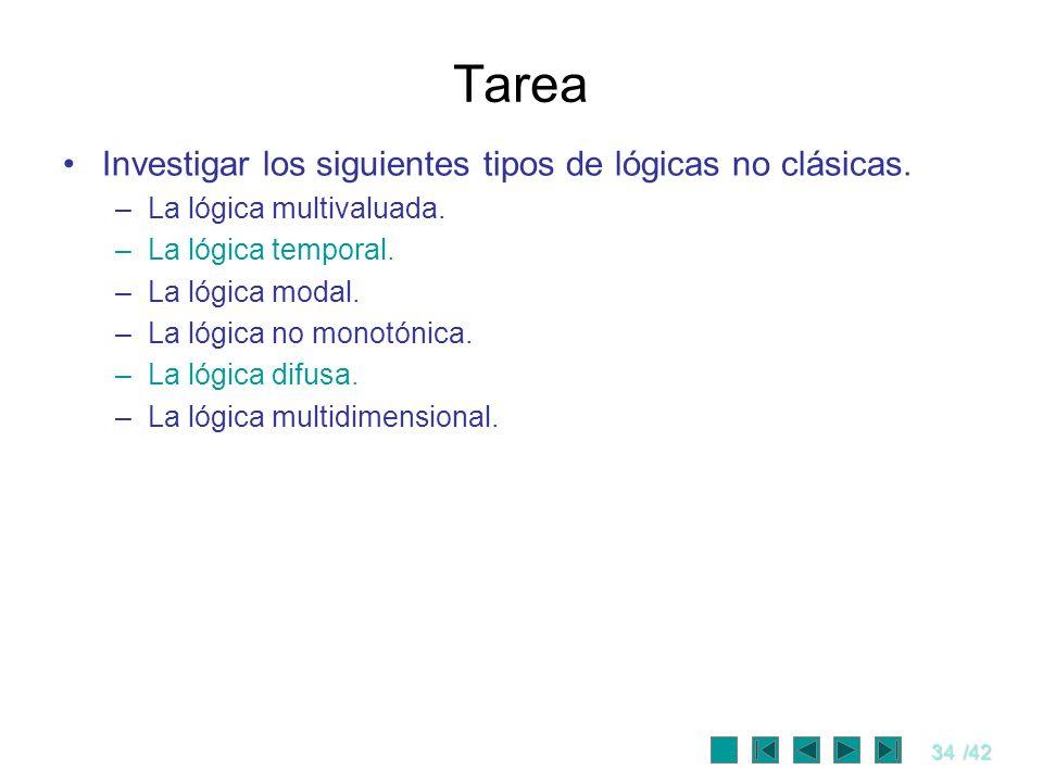 34/42 Tarea Investigar los siguientes tipos de lógicas no clásicas. –La lógica multivaluada. –La lógica temporal. –La lógica modal. –La lógica no mono