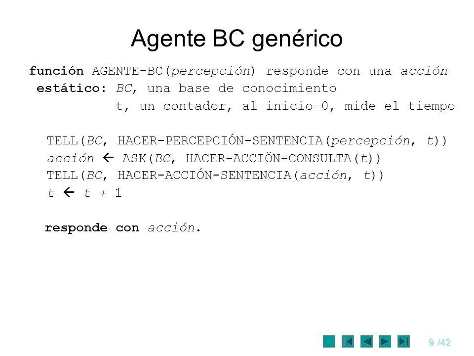 9/42 Agente BC genérico función AGENTE-BC(percepción) responde con una acción estático: BC, una base de conocimiento t, un contador, al inicio=0, mide