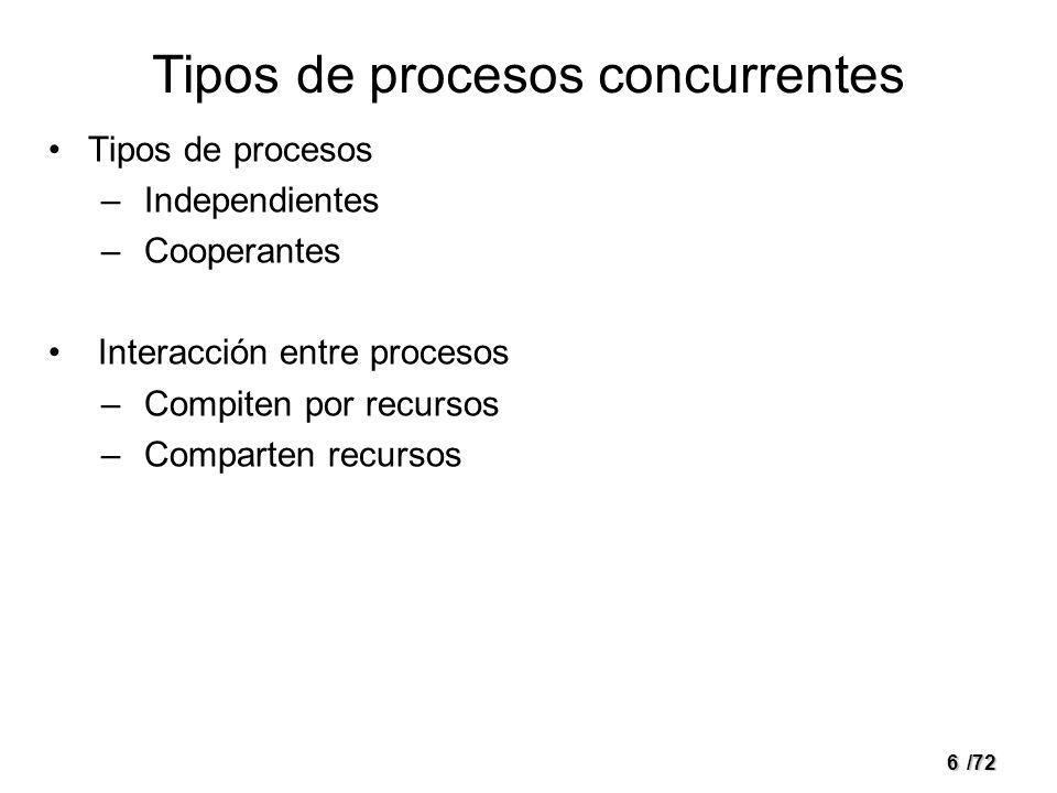 6/72 Tipos de procesos concurrentes Tipos de procesos – Independientes – Cooperantes Interacción entre procesos – Compiten por recursos – Comparten recursos