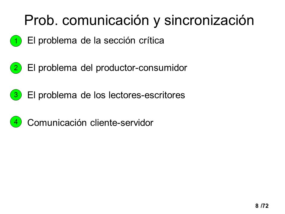 7/72 PROBLEMAS CLASICOS DE COMUNICACION
