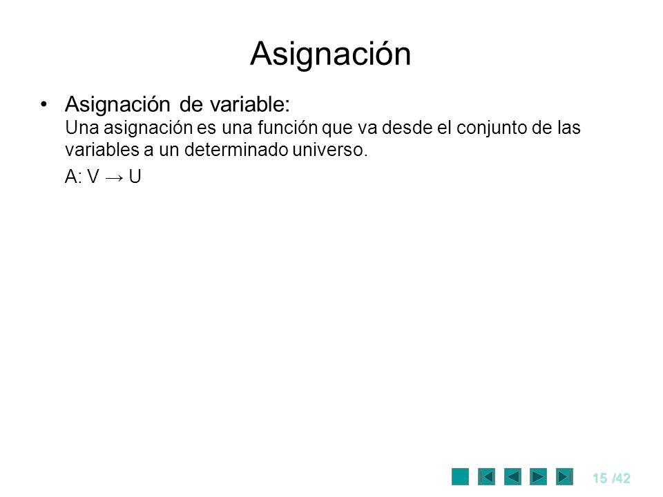 15/42 Asignación Asignación de variable: Una asignación es una función que va desde el conjunto de las variables a un determinado universo. A: V U