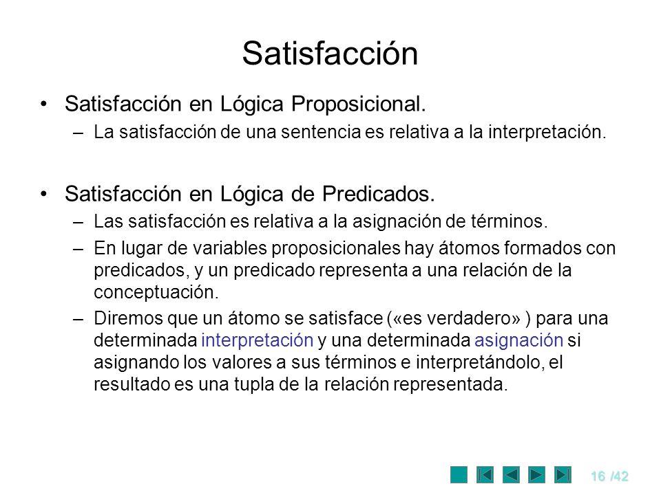 16/42 Satisfacción Satisfacción en Lógica Proposicional. –La satisfacción de una sentencia es relativa a la interpretación. Satisfacción en Lógica de