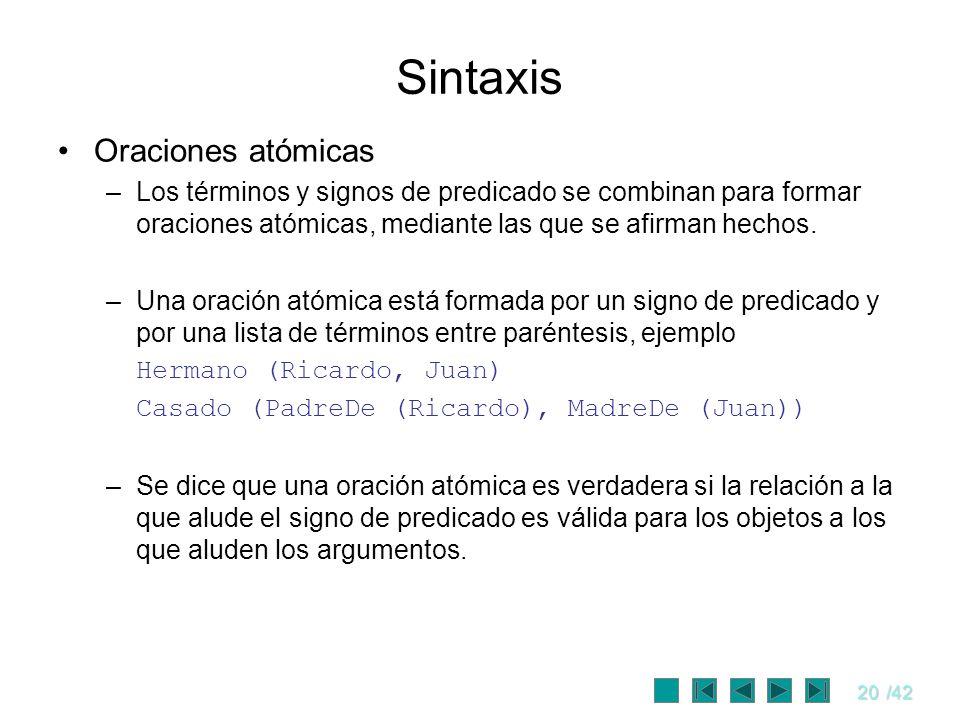 20/42 Sintaxis Oraciones atómicas –Los términos y signos de predicado se combinan para formar oraciones atómicas, mediante las que se afirman hechos.