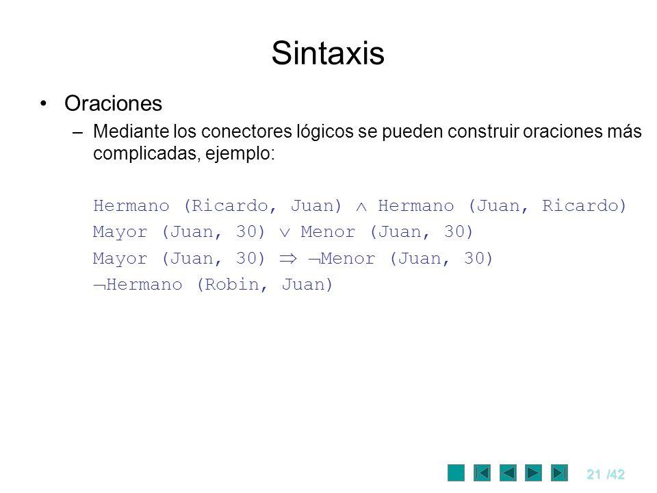 21/42 Sintaxis Oraciones –Mediante los conectores lógicos se pueden construir oraciones más complicadas, ejemplo: Hermano (Ricardo, Juan) Hermano (Jua