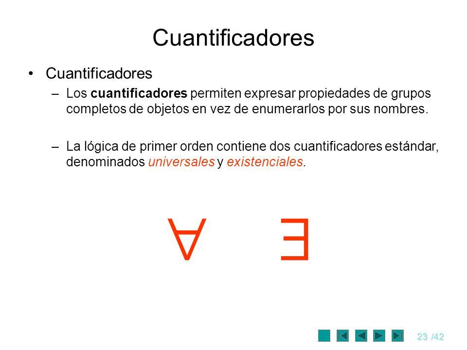 23/42 Cuantificadores –Los cuantificadores permiten expresar propiedades de grupos completos de objetos en vez de enumerarlos por sus nombres. –La lóg