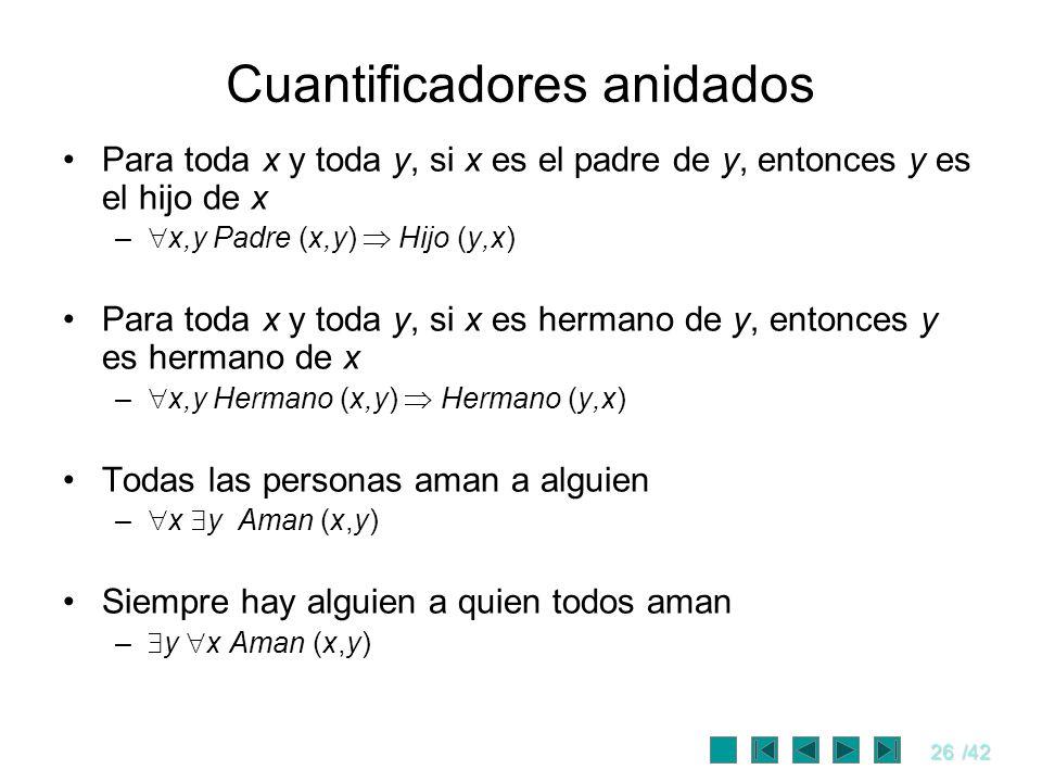 26/42 Cuantificadores anidados Para toda x y toda y, si x es el padre de y, entonces y es el hijo de x – x,y Padre (x,y) Hijo (y,x) Para toda x y toda