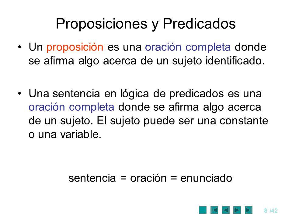 8/42 Proposiciones y Predicados Un proposición es una oración completa donde se afirma algo acerca de un sujeto identificado. Una sentencia en lógica