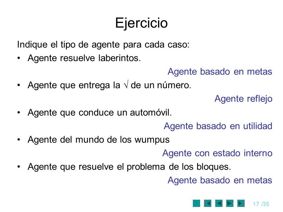 17/35 Ejercicio Indique el tipo de agente para cada caso: Agente resuelve laberintos. Agente basado en metas Agente que entrega la de un número. Agent