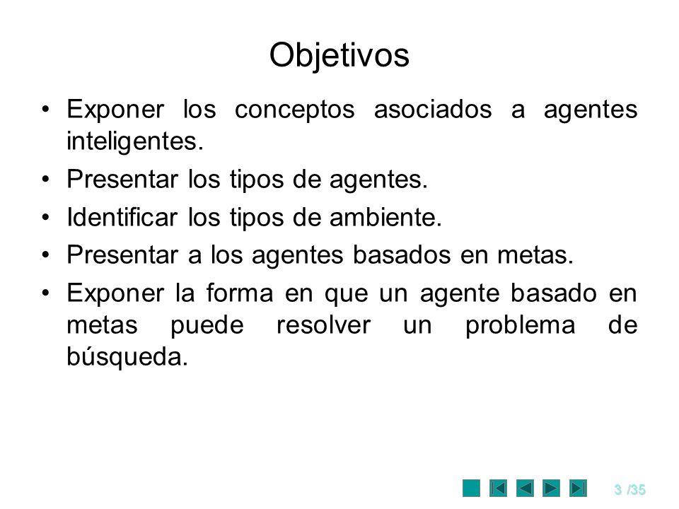 3/35 Objetivos Exponer los conceptos asociados a agentes inteligentes. Presentar los tipos de agentes. Identificar los tipos de ambiente. Presentar a