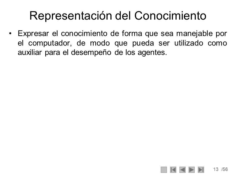 13/56 Representación del Conocimiento Expresar el conocimiento de forma que sea manejable por el computador, de modo que pueda ser utilizado como auxi