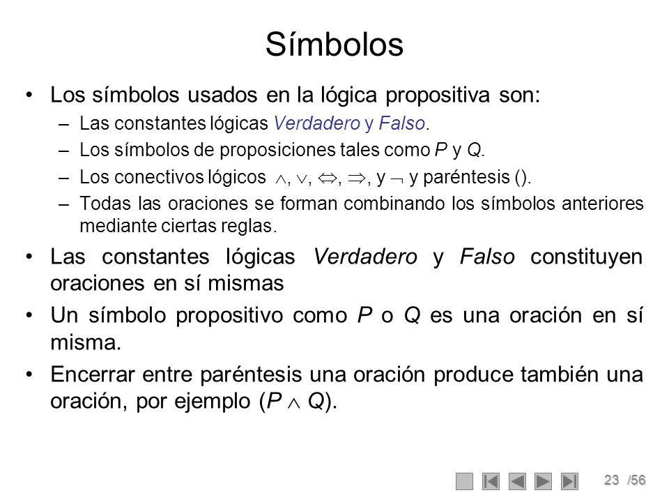 23/56 Símbolos Los símbolos usados en la lógica propositiva son: –Las constantes lógicas Verdadero y Falso. –Los símbolos de proposiciones tales como