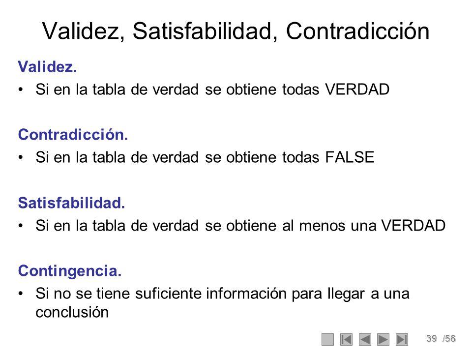 39/56 Validez, Satisfabilidad, Contradicción Validez. Si en la tabla de verdad se obtiene todas VERDAD Contradicción. Si en la tabla de verdad se obti