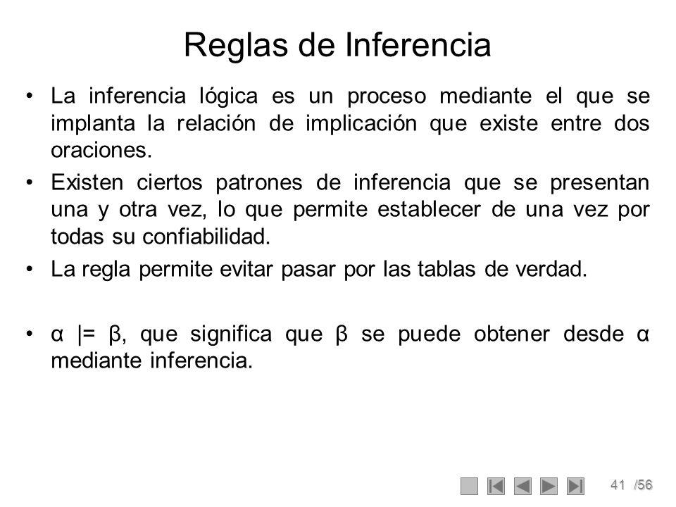 41/56 Reglas de Inferencia La inferencia lógica es un proceso mediante el que se implanta la relación de implicación que existe entre dos oraciones. E