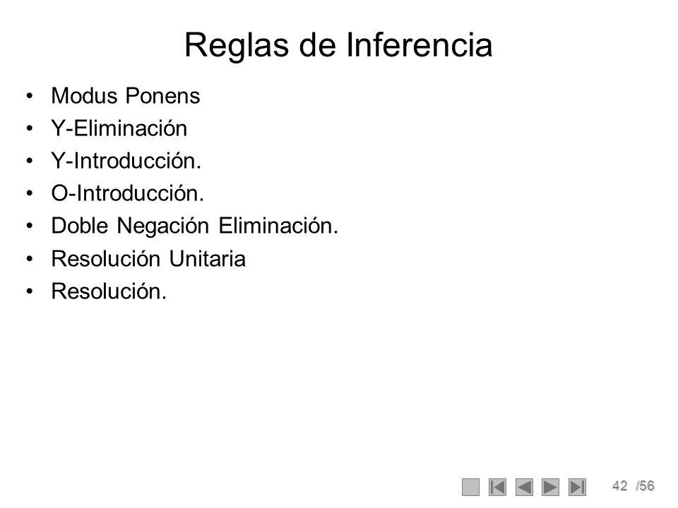 42/56 Reglas de Inferencia Modus Ponens Y-Eliminación Y-Introducción. O-Introducción. Doble Negación Eliminación. Resolución Unitaria Resolución.