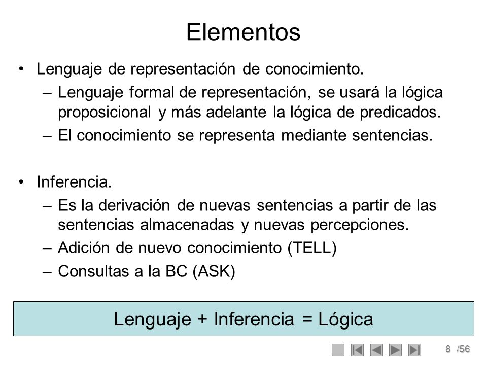 8/56 Elementos Lenguaje de representación de conocimiento. –Lenguaje formal de representación, se usará la lógica proposicional y más adelante la lógi