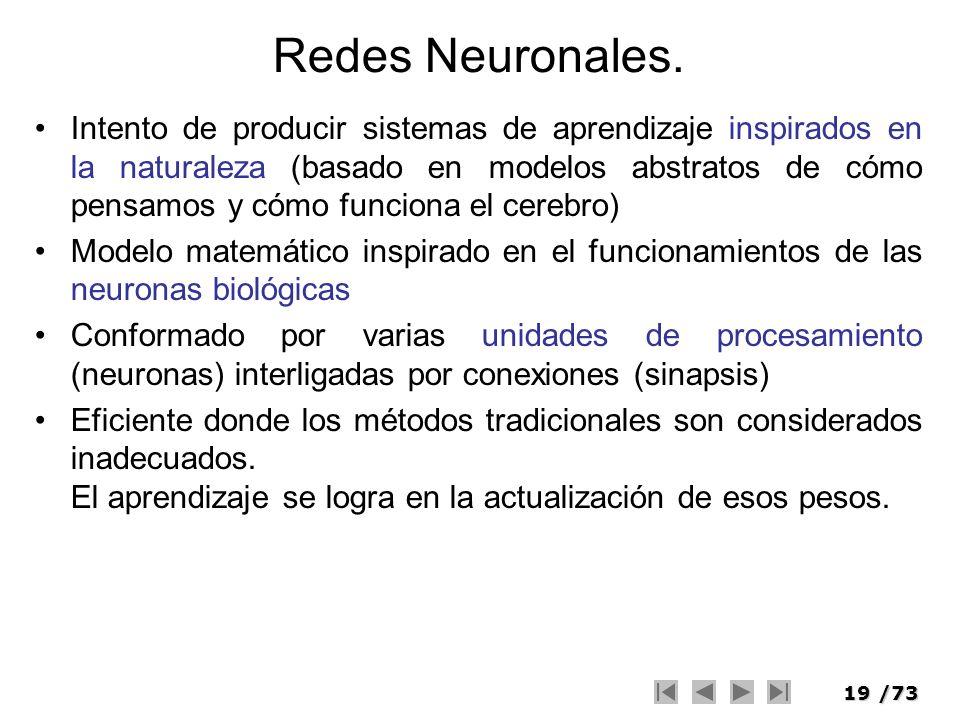 19/73 Redes Neuronales. Intento de producir sistemas de aprendizaje inspirados en la naturaleza (basado en modelos abstratos de cómo pensamos y cómo f