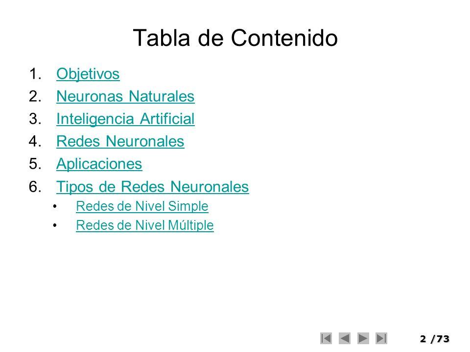 2/73 Tabla de Contenido 1.ObjetivosObjetivos 2.Neuronas NaturalesNeuronas Naturales 3.Inteligencia ArtificialInteligencia Artificial 4.Redes Neuronale