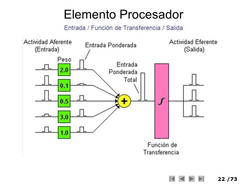 22/73 Elemento Procesador Entrada / Función de Transferencia / Salida