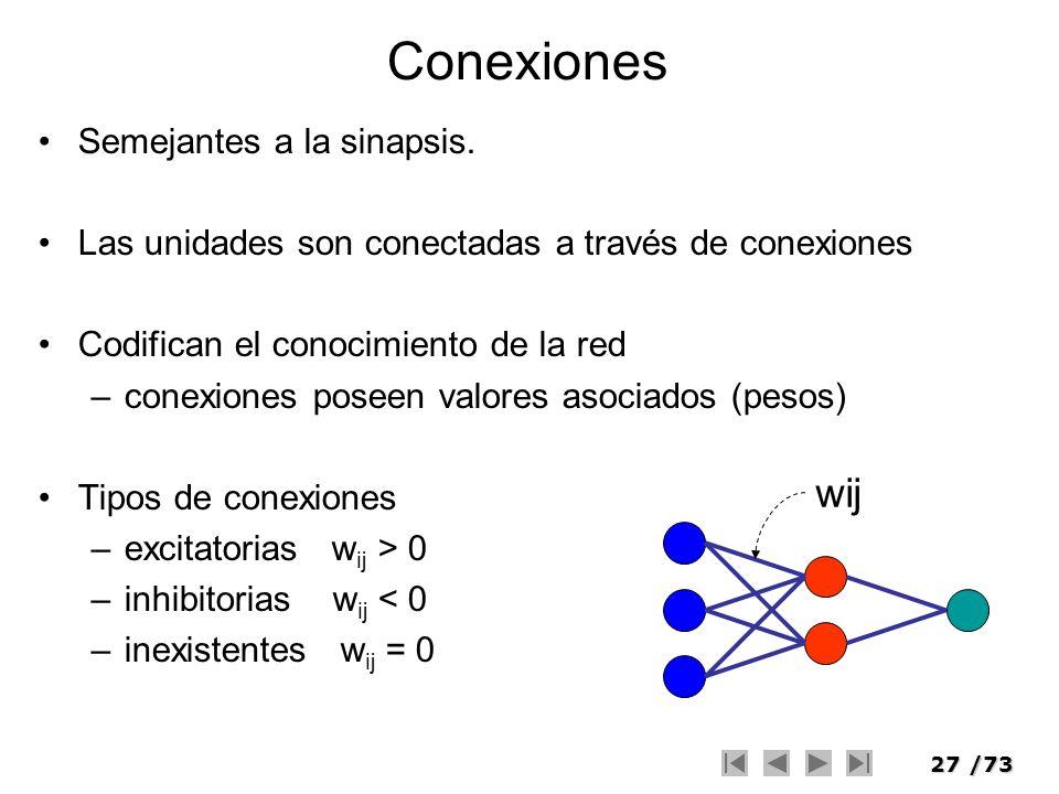 27/73 Conexiones Semejantes a la sinapsis. Las unidades son conectadas a través de conexiones Codifican el conocimiento de la red –conexiones poseen v