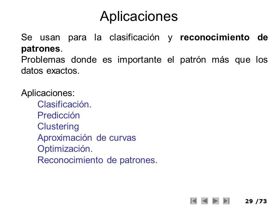 29/73 Aplicaciones Se usan para la clasificación y reconocimiento de patrones. Problemas donde es importante el patrón más que los datos exactos. Apli