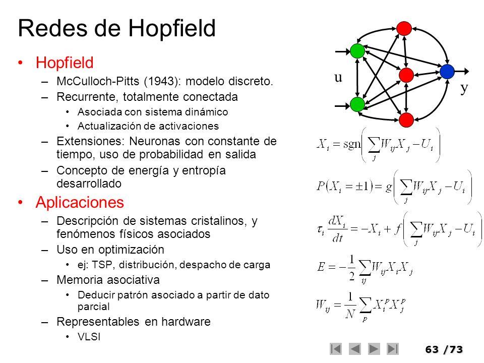 63/73 Redes de Hopfield Hopfield –McCulloch-Pitts (1943): modelo discreto. –Recurrente, totalmente conectada Asociada con sistema dinámico Actualizaci