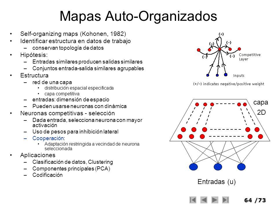64/73 Mapas Auto-Organizados Self-organizing maps (Kohonen, 1982) Identificar estructura en datos de trabajo –conservan topología de datos Hipótesis: