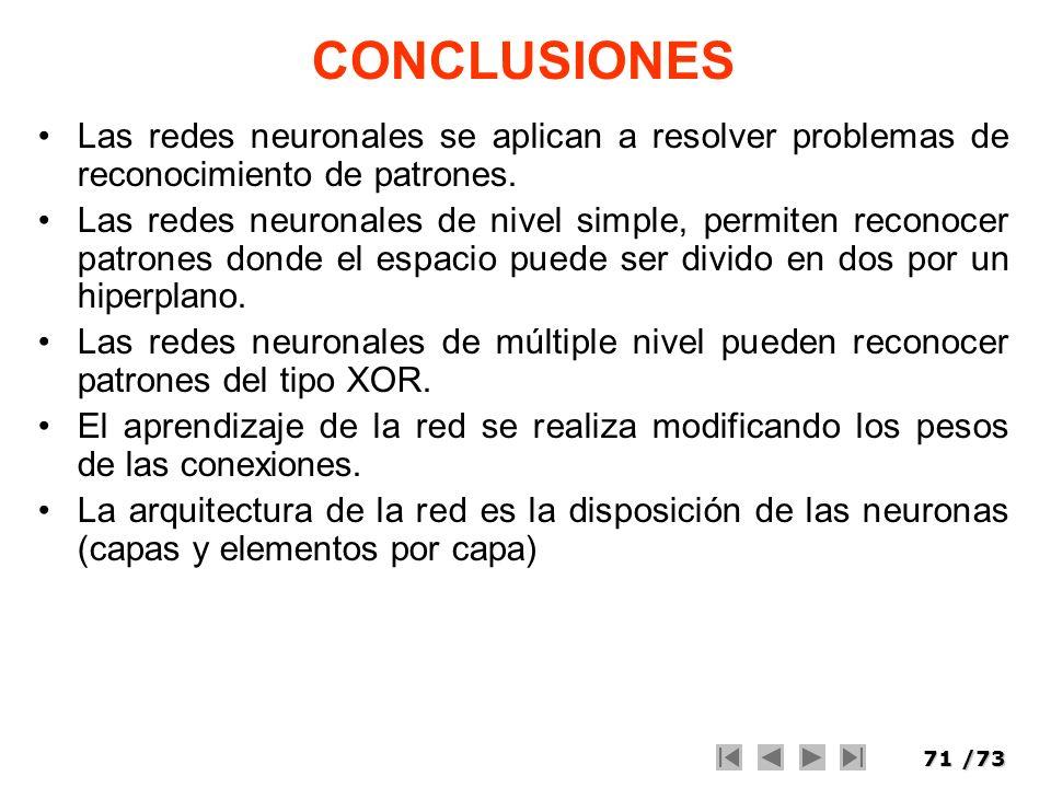 71/73 CONCLUSIONES Las redes neuronales se aplican a resolver problemas de reconocimiento de patrones. Las redes neuronales de nivel simple, permiten