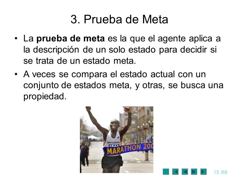 13/69 3. Prueba de Meta La prueba de meta es la que el agente aplica a la descripción de un solo estado para decidir si se trata de un estado meta. A