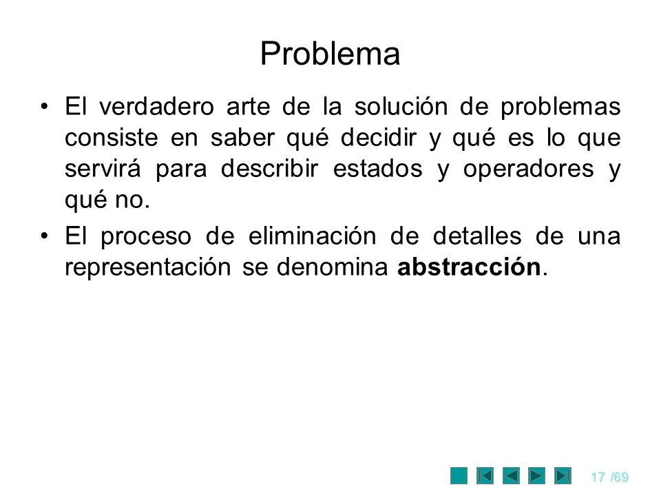 17/69 Problema El verdadero arte de la solución de problemas consiste en saber qué decidir y qué es lo que servirá para describir estados y operadores