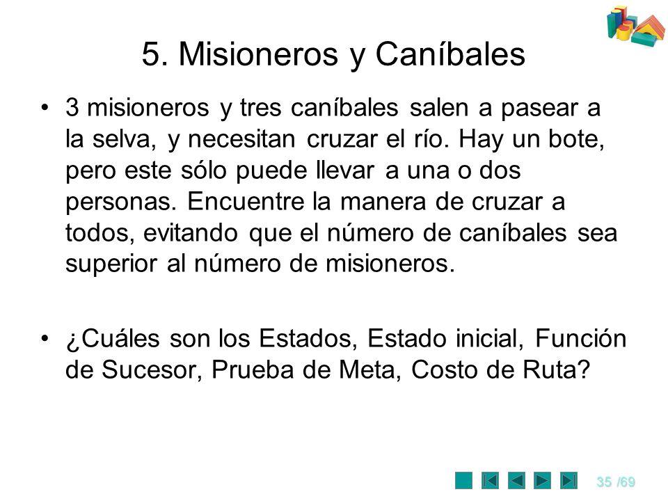 35/69 5. Misioneros y Caníbales 3 misioneros y tres caníbales salen a pasear a la selva, y necesitan cruzar el río. Hay un bote, pero este sólo puede