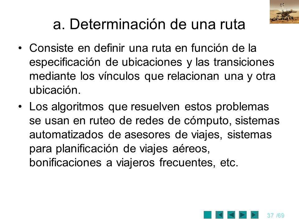 37/69 a. Determinación de una ruta Consiste en definir una ruta en función de la especificación de ubicaciones y las transiciones mediante los vínculo