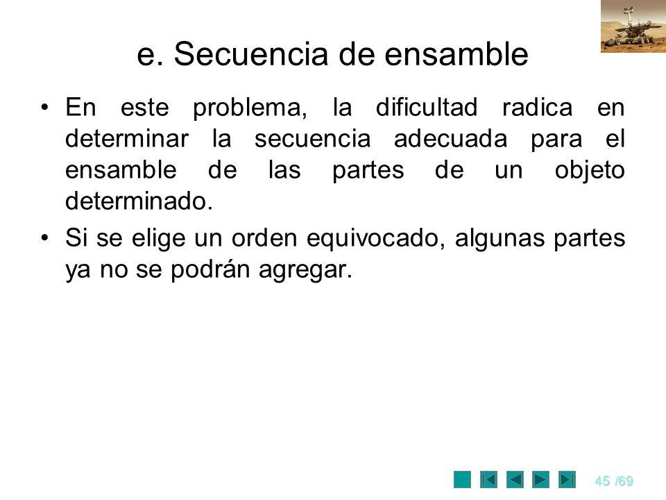 45/69 e. Secuencia de ensamble En este problema, la dificultad radica en determinar la secuencia adecuada para el ensamble de las partes de un objeto